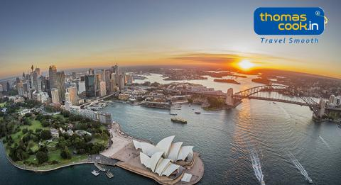 Sydney Harbour aerial at sunset with views of Royal Botanic Garden, Sydney City