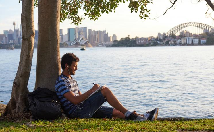 Studying at Cremorne Point, Sydney Harbour